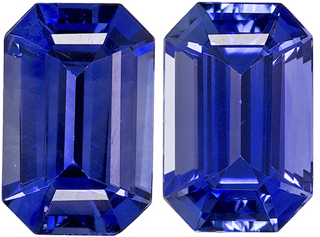 Calibrated Sapphire Well Matched Pair in Emerald Cut, Rich Blue, 6 x 4 mm, 1.18 carats