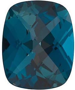Natural Loose Calibrated Size Faceted Loose Natural Antique Cushion Shape Checkerboard London Blue Topaz Gem Grade AAA, 10.00 x 8.00 mm in Size, 3.45 Carats