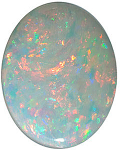 Standard Size Genuine Loose Oval Shape Cabochon White Fire Opal Gemstone Grade GEM, 9.00 x 7.00 mm in Size, 1.1 carats