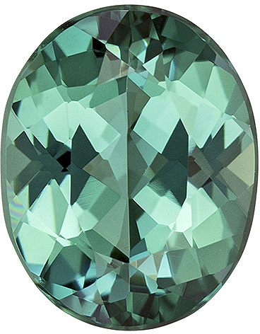 Calibrated Size Tourmaline Gemstone in Oval Cut, Open Greenish Blue, 9 x 7.2 mm, 1.92 carats