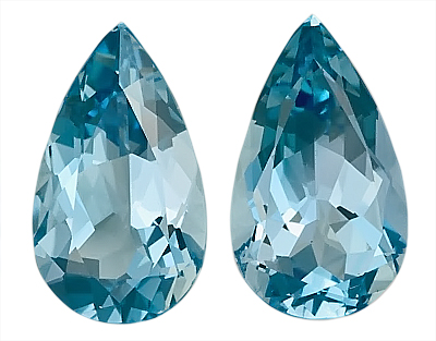 Captivating Pair of Rich Blue GEM Aquamarine Genuine Gemstones, Pear Shape,  4.21 carats,