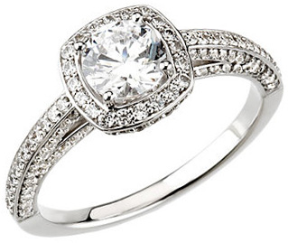 Cathedral Style Accented 14 KT White Gold 1 3/4 Carat TW Diamond Halo-Style Engagement Ring