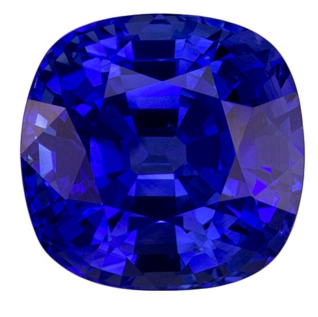 CD Certified 4.87 carats Blue Sapphire Loose Gemstone in Cushion Cut, Medium Blue, 9.2 x 9 mm