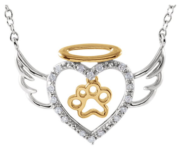 Celebrate Your 4-Legged Angel With This Paw Themed Angel Heart Pendant in Sterling Silver - Diamond Accents - .08 ct
