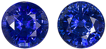 Ceylon Very Pretty Blue Sapphire Genuine 6mm Matched Pair for SALE! Round Cut, 2.27 carats