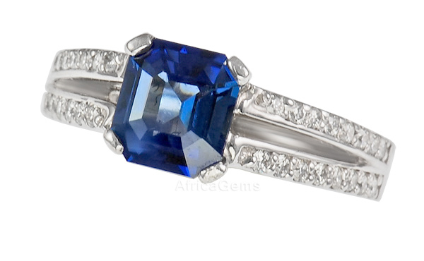 Charming Emerald Cut Pretty Blue Sapphire And Split Shank Diamond Pave Ring - SOLD
