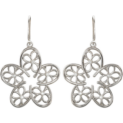 Charming Floral Design Earrings With Open Flower Designs and .17ct,m 1.70 mm Diamond Accents - Metal Type Options