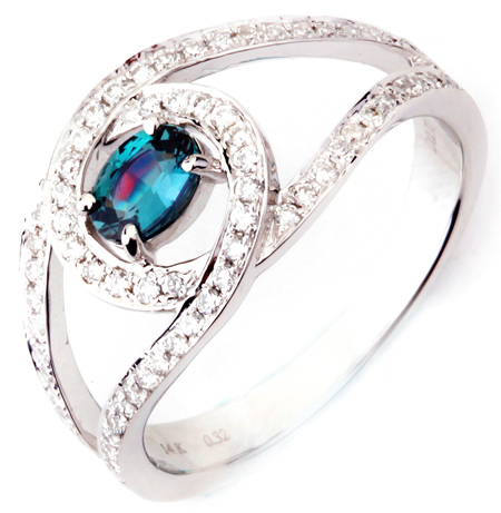 Charming Mystical Wave Natural .32ct, 5.18 x 3.70 mm Alexandrite Split Shank Fashion Ring With Curved Diamond Designs