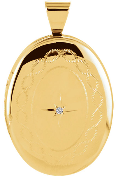 Charming Oval Shape 14k Yellow Gold Locket With Swirling Engraved Details & .01 ct Diamond Accent - FREE Chain