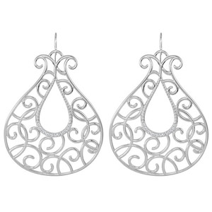 Charming Tulip Shaped Sterling Silver Wire Back Earrings  With .25 ct Diamond Accents and Squiggle Diamonds