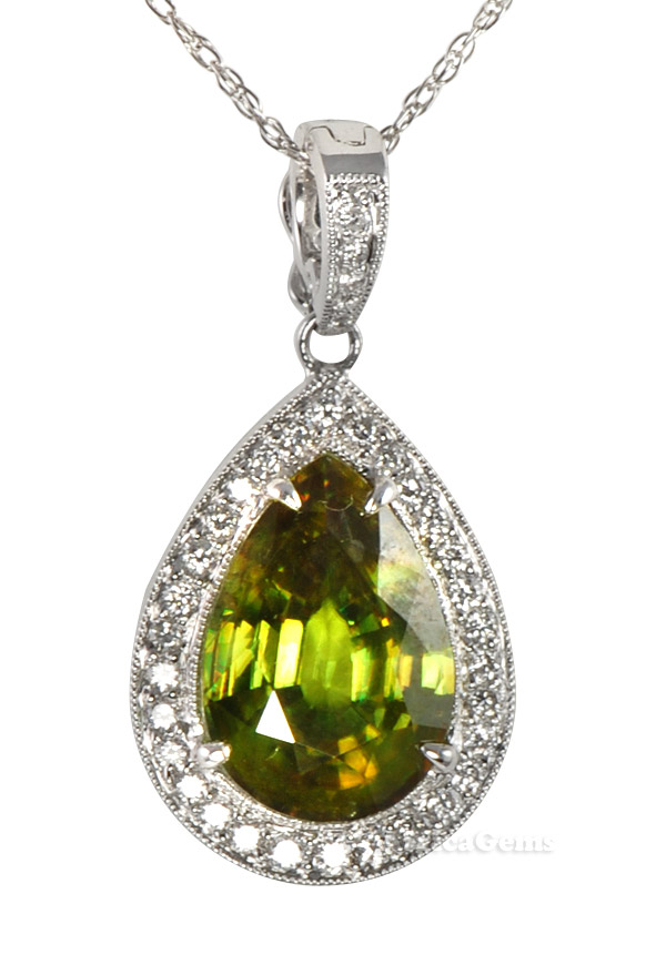 Chartruse Colored Pear Shape Sphene And Diamond Necklace by Andrew Sarosi - FREE Chain - SOLD