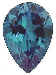 Faceted Chatham Created Alexandrite Gemstone, Pear Shape, Grade GEM, 6.00 x 4.00 mm in Size, 0.48 Carats