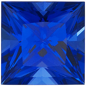 Chatham  Blue Sapphire Princess Cut in Grade GEM