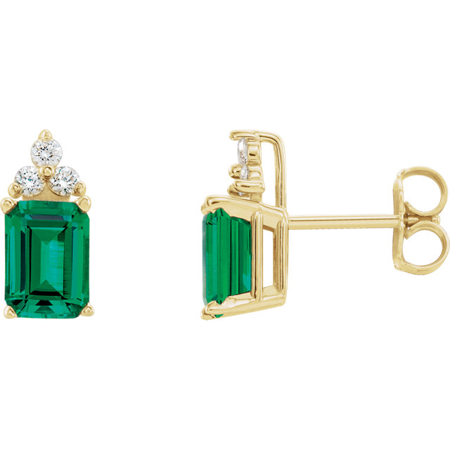 Contemporary 14 Karat Yellow Gold Genuine Chatham Created Created Emerald & 0.12 Carat Total Weight Diamond Earrings