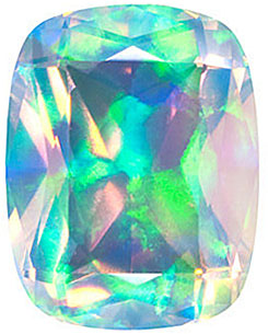 Chatham  Faceted White Opal Antique Cushion Cut in Grade GEM