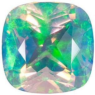 Chatham  Faceted White Opal Antique Square Cut in Grade GEM