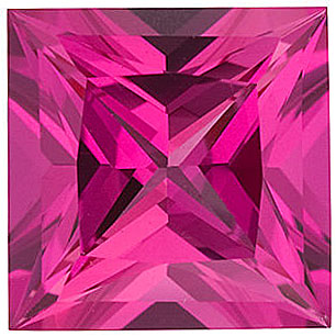 Chatham  Pink Sapphire Princess Cut in Grade GEM