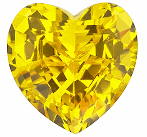 Chatham  Yellow Sapphire Heart Cut in Grade GEM