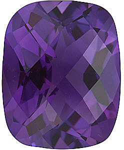 Checkerboard Antique Cushion Genuine Amethyst in Grade AA