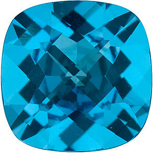 Checkerboard Antique Square Genuine Swiss Blue Topaz in Grade AAA
