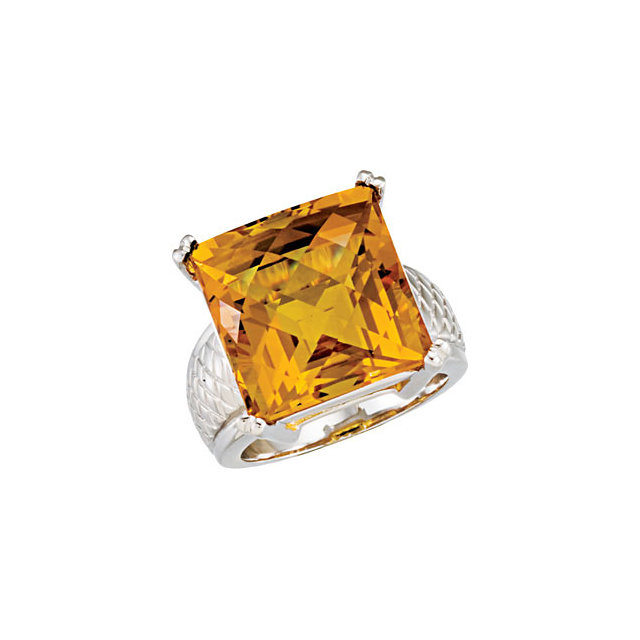 Chic Checkerboard Citrine Weave Design Ring