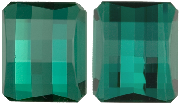 Checkerboard Cut Teal Blue Green Tourmaline Perfect Pair, 10.8 x 9.0mm, 10.57 carats