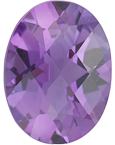 Checkerboard Oval Genuine Amethyst in Grade A