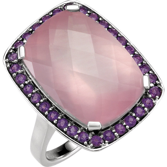 Checkerboard Rose Quartz & Amethyst Halo Ring