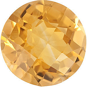 Checkerboard Round Genuine Citrine in Grade A