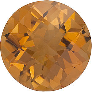 Checkerboard Round Genuine Citrine in Grade AA