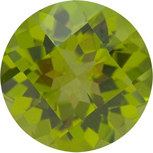 Checkerboard Round Genuine Peridot in Grade AAA
