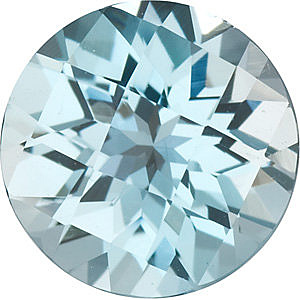 Checkerboard Round Genuine Sky Blue Topaz in Grade AAA