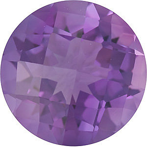 Genuine Checkerboard Round Shape Genuine Amethyst Loose  Gemstone   Grade A 1.2 carats,  7.00 mm in Size