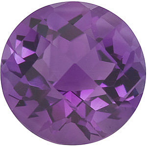 Genuine Loose Checkerboard Round Shape Genuine Amethyst Loose  Gemstone   Grade AA 1.2 carats,  7.00 mm in Size