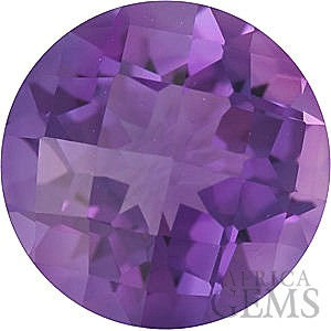 Checkerboard Round Shape Genuine Amethyst Loose High Quality Gemstone Grade A 7.00 mm in Size 1.2 carats
