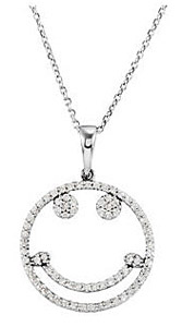 Cheerful .33ct Diamond Smiley Face Pendant in 14k White Gold for SALE - FREE Chain Included - SOLD