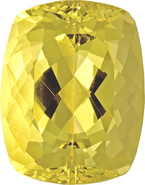 Cheerful Bright Yellow Antique Cushion Beryl - Well Cut, 14.1 x 12.1mm, 10 carats