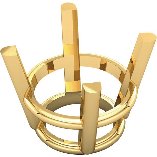 Chic 14kt Gold 4-Prong Wire Basket Setting for Round Gemstone Sized 2.00 mm - 22.00 mm