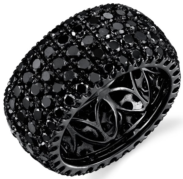 Chic All Black Pave Diamond Ring With Black Rhodium Plated 18kt Gold - 5.62 ct. tw
