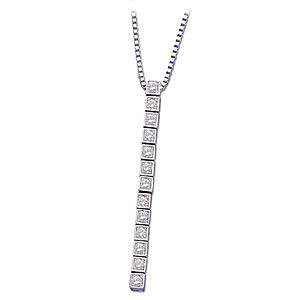 Chic and Contemporary 14k White Gold Diamond Line Pendant for SALE - FREE Chain - SOLD