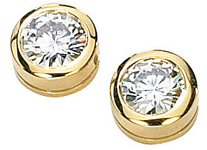 Chic and Stylish Button Style Bezel Set Solitaire Stud Earrings With 1ct 5mm Round Moissanite Gems - Metal Type Options