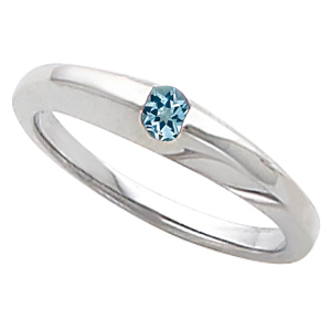 Chic Band Ring With Gorgeous Round Watery Blue .45ct 4mm Aquamarine Gemstone Solitaire Center