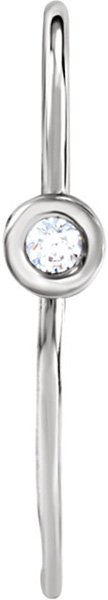 Chic Bezel Set .12 CTW Diamond Accented Ear Wire With Open Ring in 14kt White Gold