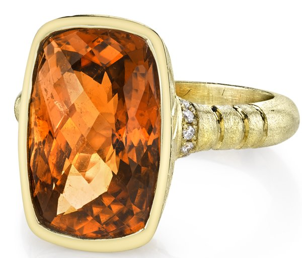 Chic Bezel Set 18kt Yellow Gold 8.24ct Checkerboard Cut Golden Tourmaline Gemstone Ring - Diamond Accents