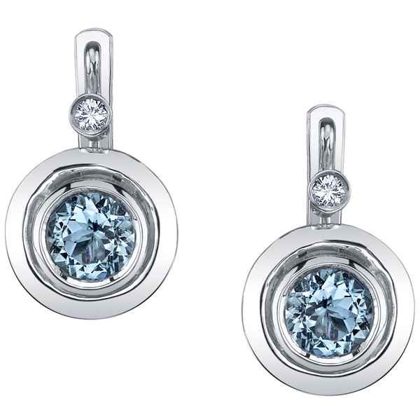 Chic Bezel Set 6 mm Round Aquamarine Earrings with Diamond Accents - 18kt White Gold