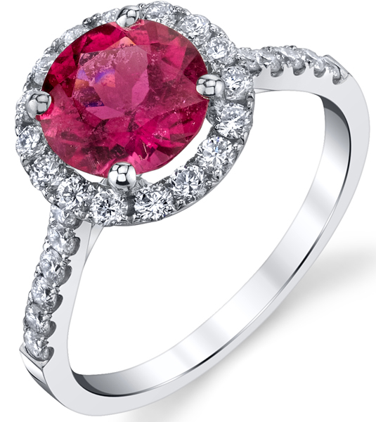 Chic Handmade 18kt White Gold Halo Style Ring With 6.5mm 1.1 carat GEM Round Ruby Center - Diamond Accents Along Band