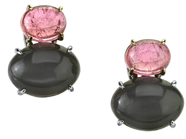 Chic Multi Gemstone Earrings With Cabochon Grey Moonstones (21.85ctw) & Pink Tourmalines (7.79ctw) - SOLD