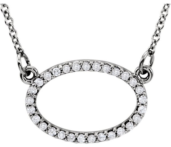Chic Open Horizontal 1/6ct Oval Shape Pave 1mm Diamond Pendant for SALE -1/6ct tw - FREE Chain