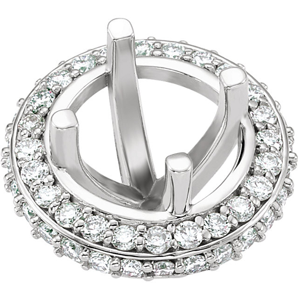 Chic Pre-Set Halo Accented Peg Jewelry Finding for Round Gemstone Size 5.20mm - 6.50mm - Customize Metal Type