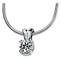 Chic Solstice Solitaire Pendant With 1ct 6.50 mm Round Moissanite Gemstone - Metal Type Options